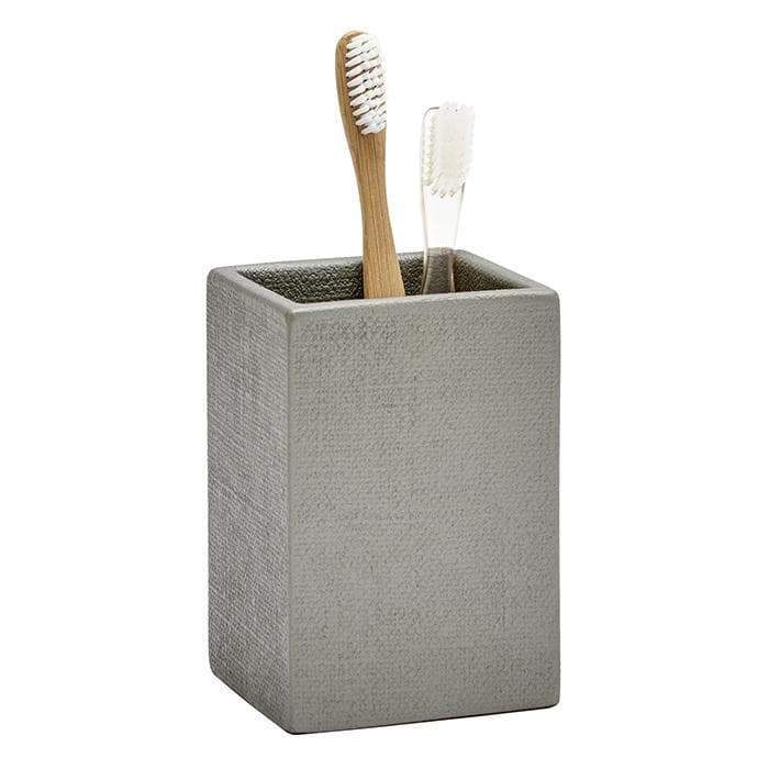 Dannes Faux Belgian Linen Brush Holder (Light Gray)
