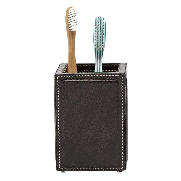 Lorient Charcoal Full Grain Leather Bathroom Accessories