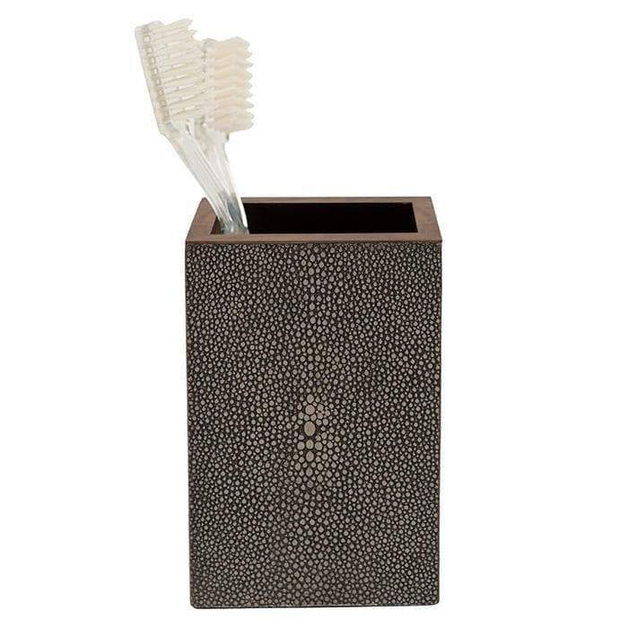Manchester Faux Shagreen Brush Holder (Dark Mushroom)