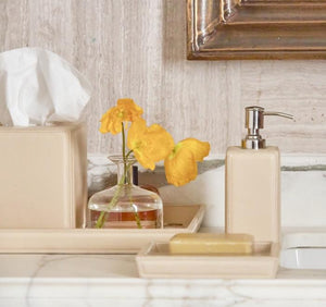 Lorient Cream Full Grain Leather Bathroom Accessories