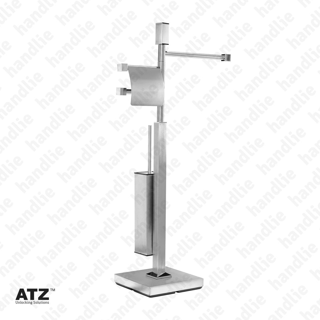 WC.6501 6500 Series - Standing Towel Rail with Square Toilet Brush Holder - Stainless Steel