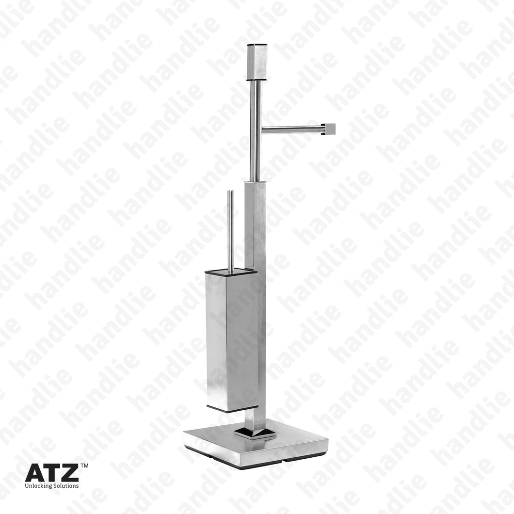 WC.6502 6500 Series - Standing Towel Rail with Square Toilet Brush Holder - Stainless Steel