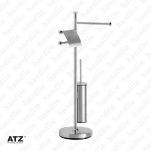 WC.6601 6600 Series - Standing Towel Rail with Toilet Brush Holder - Stainless Steel