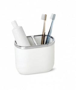 Junip Toothbrush Holder, White/Chrome