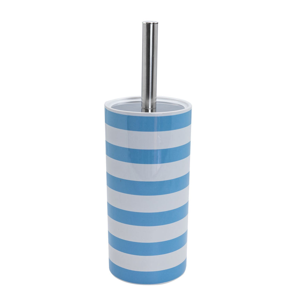 Harbour Housewares Ceramic Toilet Brush & Holder - Light Blue Stripe