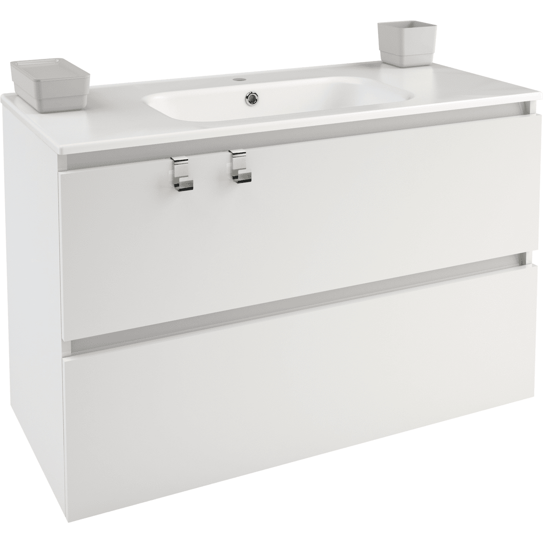Box 40 in. Wall Mounted Bathroom Vanity 2 Drawers Cabinet with Porcelain Washbasin
