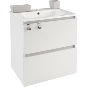 Box 24 in. Wall Mounted Bathroom Vanity 2 Drawers Cabinet with Porcelain Washbasin