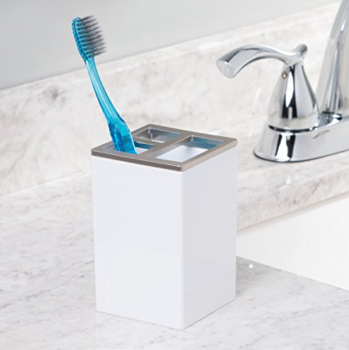 Clarity Toothbrush Holder, White/Brushed