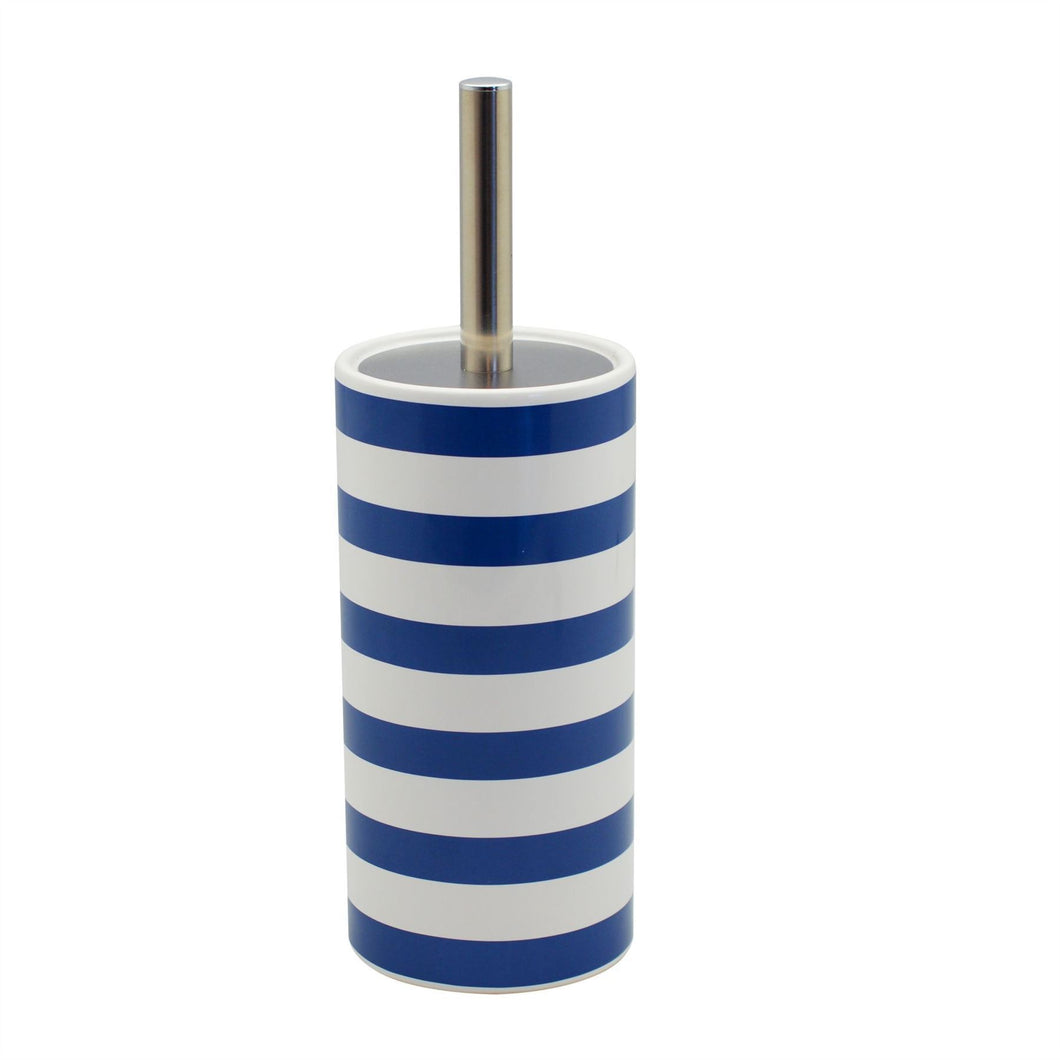 Harbour Housewares Ceramic Bathroom Toilet Brush & Holder - Blue/White