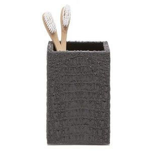Hawen Faux Crocodile Brush Holder - Black