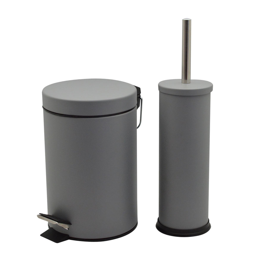 Harbour Housewares 3 Litre Bathroom Pedal Bin and Toilet Brush Set - Grey Matte