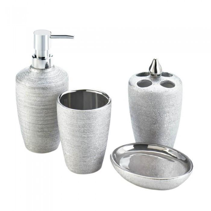 Accent Plus 10017710 Silver Shimmer Bath Accessory Set
