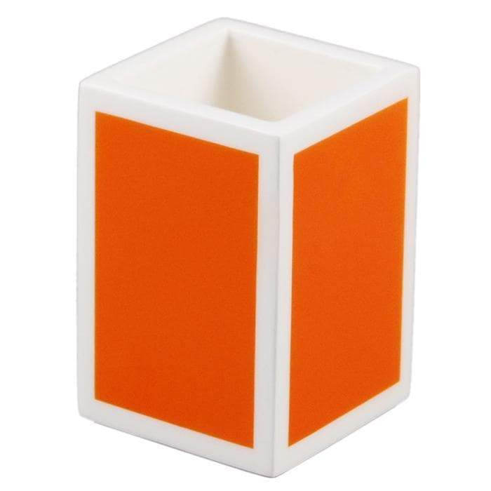 Orange & White Lacquer Brush Holder
