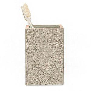 Manchester Faux Shagreen Brush Holder (Ivory)