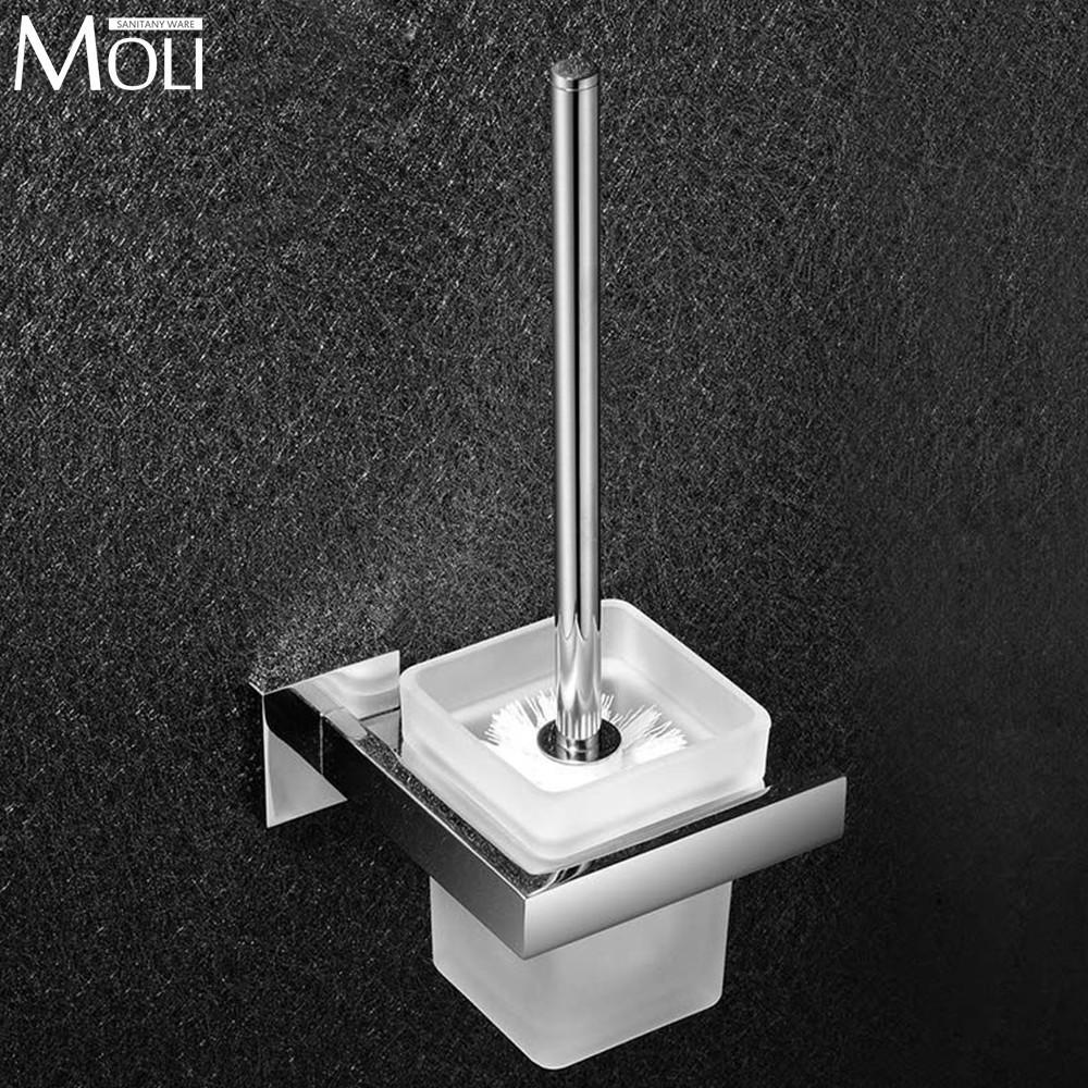 Bathroom Toilet Brush Holder Set Stainless Steel Bathroom Decoration Accessories Bath Hardware