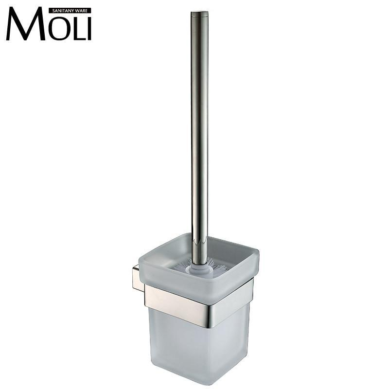Contemprary Toilet Brush Holder Poilshed Stainless Steel Holder Glass Brush Cup Wall Mounted Toilet Brushes Set