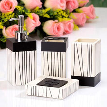 Load image into Gallery viewer, 4 Pcs Ocean Style Washing Room Sets Ceramic Bathroom Accessories Sets Toothpaste Toothbrush Holder Soap Emulsion Bottle