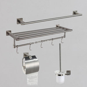 2016 4 Piece Bathroom Hardware Set Brush Stainless Steel Bathroom Accessories Towel Bar Toilet Paper Holder Toilet Brush Holder