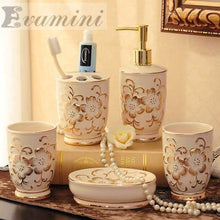 Load image into Gallery viewer, Ceramic Bathroom Set Five Piece Of Bathroom Item Fashion Modern Toothbrush Holder Bathroom Accessories Creative Coupletoilet Was