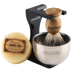 Barber Shaving Brush Badger Hair+Black Acrylic Stand+bowl+Soap Set