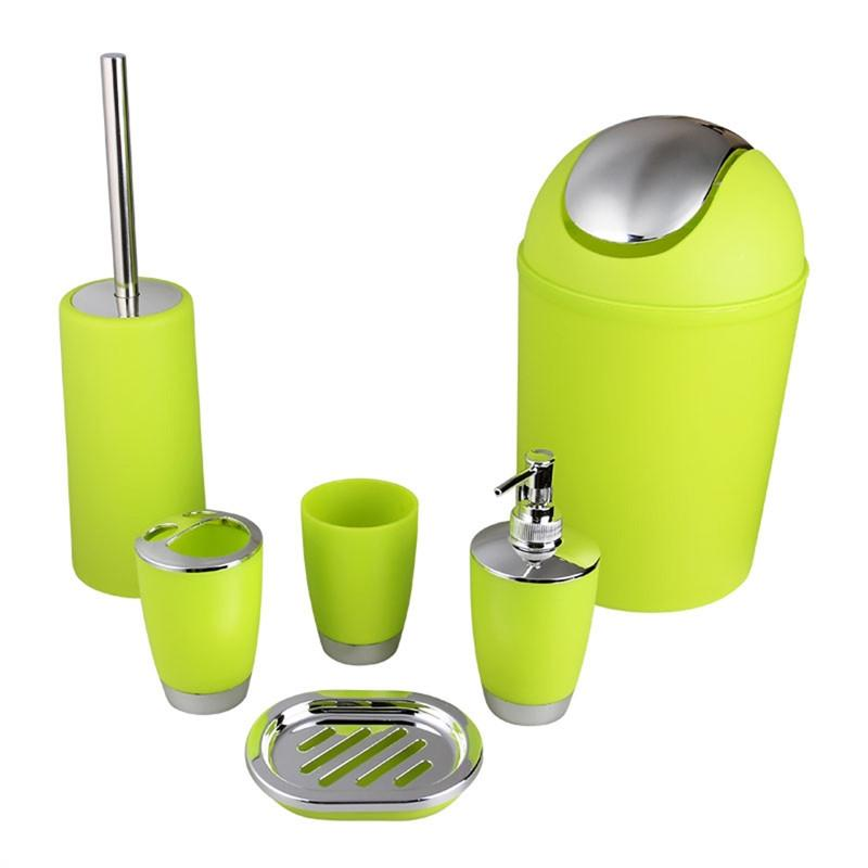 New Style 6pcs Bathroom Accessory Set Lotion Dispenser Toothbrush Holder Tumbler Cup Soap Dish Toilet Brush Trash Can