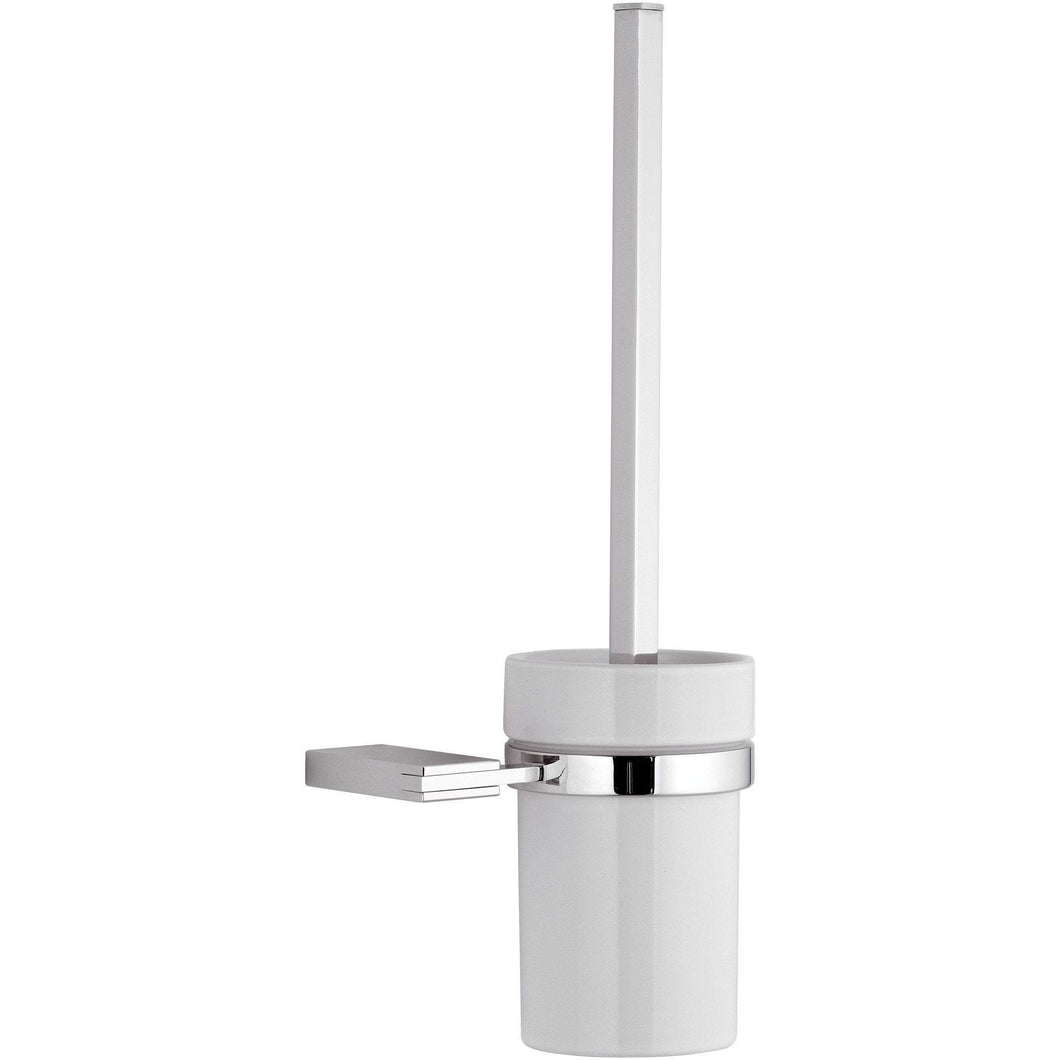 DI Wire Wall Mounted Toilet Brush Bowl & Holder Set - Polished Chrome