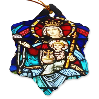 Stained Glass Mary and Baby Jesus Porcelain Ornaments