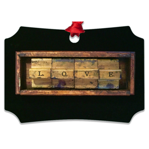 Wood Love Metal Ornaments