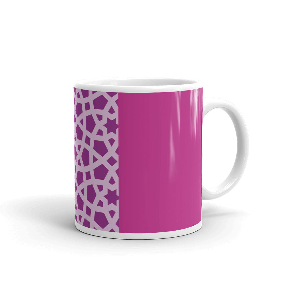 Mug with bold pink wake me up design