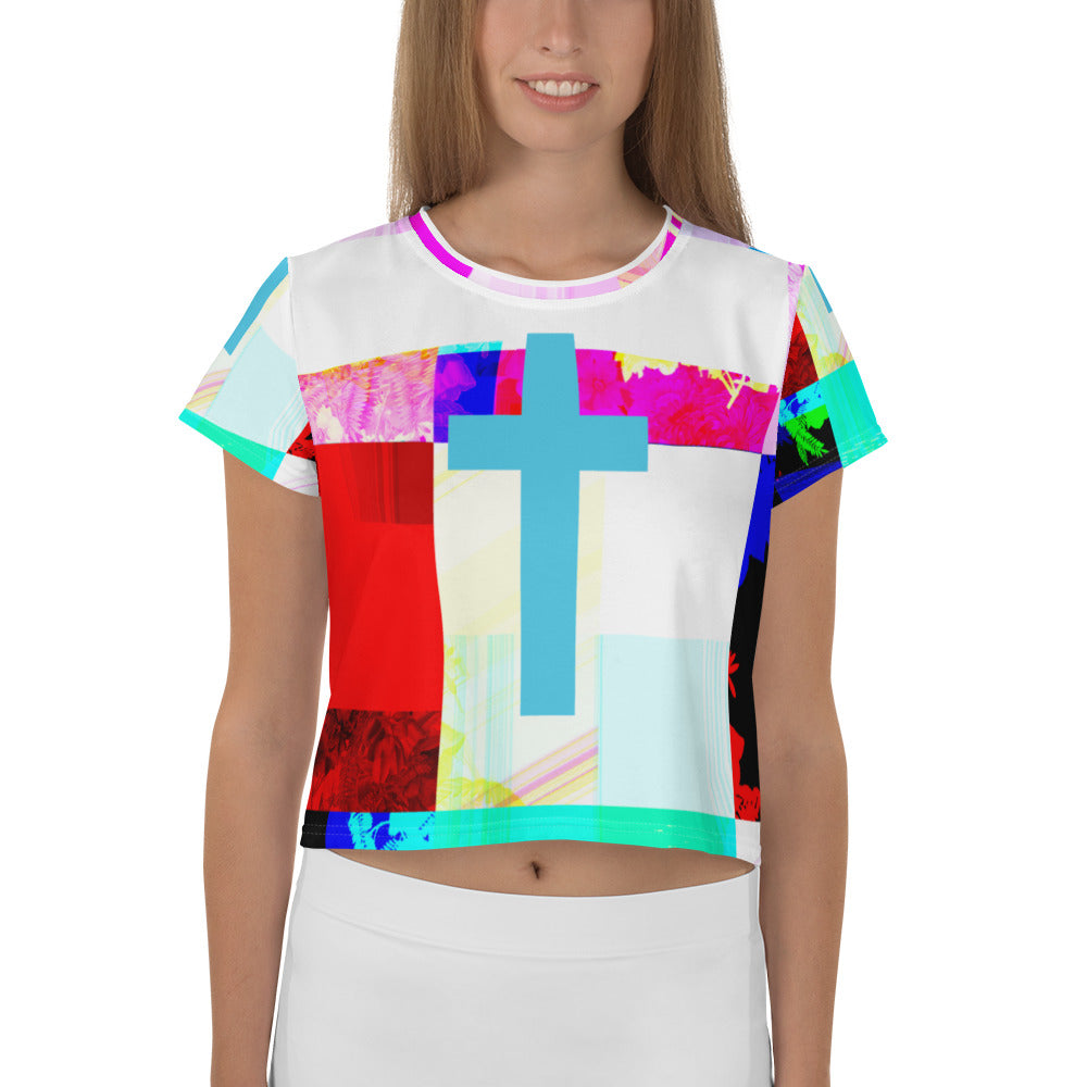 All-Over Print Contemporary crop cross Tee