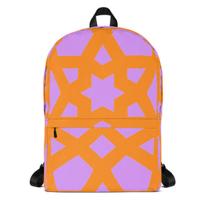 Backpack with bright orange and pink pattern