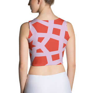 Geometric pink and red Crop Top