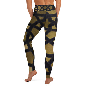 Yoga Leggings with gold and black geometric design