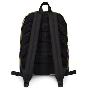 Backpack with gold and black geometric design