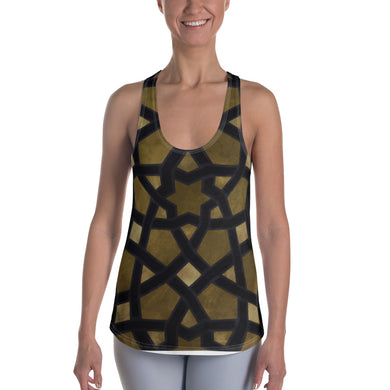 Women's Racerback Tank with black and gold geometric design