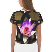 Load image into Gallery viewer, Gold geometric and pink lotus Crop Tee