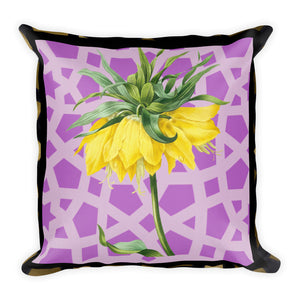 Premium Pillow with leopard geometric boarder and yellow flower