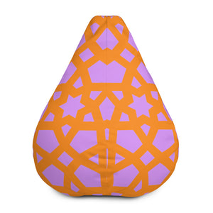 Beautiful orange and pink geometric patter bean Bag Chair w/ filling