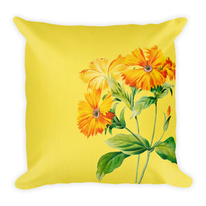 Premium Pillow with yellow flower and pink stripes