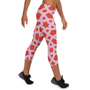 Capri Leggings with pink and red geometric design