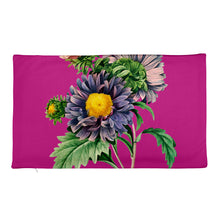 Load image into Gallery viewer, Premium Pillow Case with purple and pink flowers with pink background