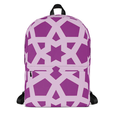 Backpack with pink and purple geometric pattern