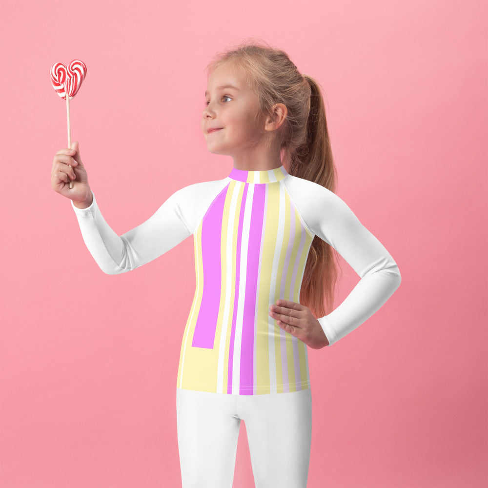 Kids Rash Guard with purple and yellow stripes