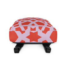 Load image into Gallery viewer, Backpack with red and pink geometric design