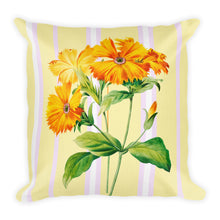 Load image into Gallery viewer, Premium Pillow with yellow flower and pink stripes