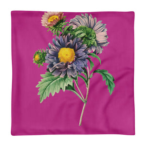 Premium Pillow Case with purple and pink flowers with pink background