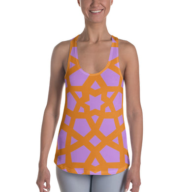 Women's Racerback Tank with pink and orange geometric pattern
