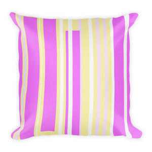 Premium Pillow with yellow and purple stripes