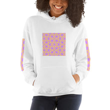 Load image into Gallery viewer, Hooded Sweatshirt with lt pink and orange design