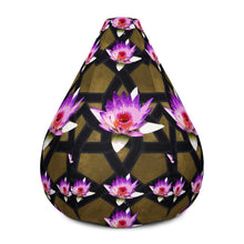 Load image into Gallery viewer, Bean Bag Chair w/ filling with bold lotus and gold geometric pattern